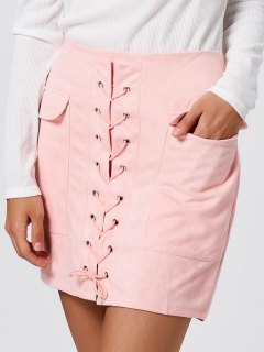 Faux Suede Lace Up Pockets Bodycon Skirt - Pink M