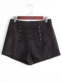 High Waisted Lace Up Shorts - Black S