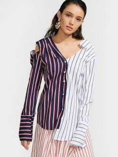 Contrasting Stripes Cutout Asymmetrical Shirt - Stripe S