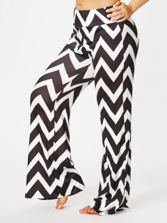 Plus Size Zigzag Print Palazzo Pants - Black Stripe 5xl