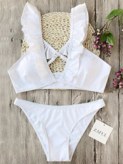 Plunge Ruffles Cross Back Bikini Set - White M