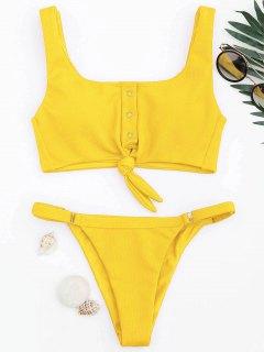 Adjustable Textured Knot Bralette Bikini Set - Yellow M