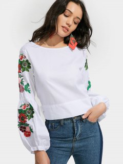 Bowknot Floral Embroidered Blouse - White L