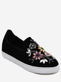 Slip On Suede Beading Flat Shoes - Black 39