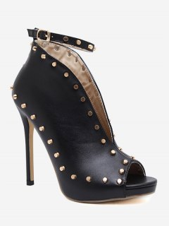 Studded Ankle Strap Stiletto Heel Pumps - Black 39