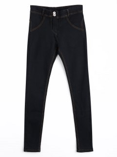 Skinny Double Buttoned Pencil Jeans - Black M