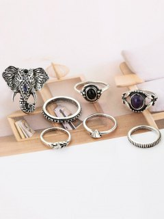 7 Pieces Bohemia Elephant Eye Rings - Silver