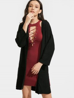Side Slit Longline Open Front Cardigan - Black