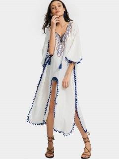 High Slit Embroidered Tassels Kimono Blouse - White M