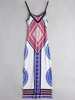Argyle Side Slit Cami Maxi Dress - White Xl