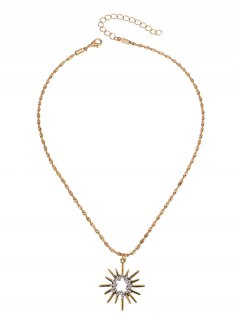 Rhinestoned Sun Pendant Necklace - Golden