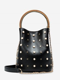 Chain Faux Pearls Bucket Bag - Black