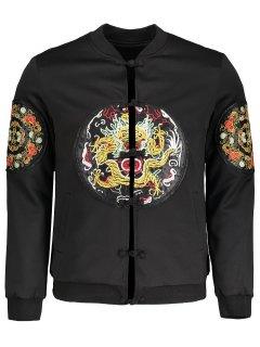 Embroidered Applique Bomber Jacket - Black 2xl