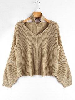 Zipper Sleeve Chunky Choker Sweater - Apricot