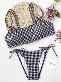 Plaid Double Straps String Bikini - White And Black M