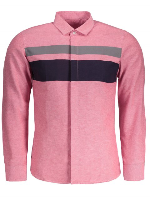 ladies Mens Color Block Shirt - PINK 2XL Mobile