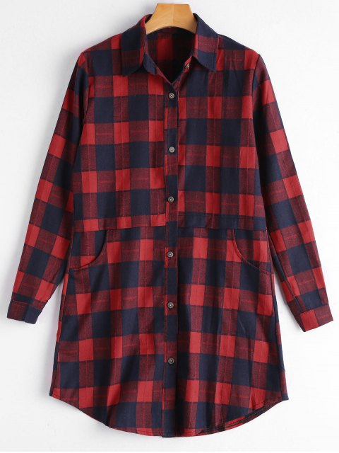 Chemise à capuchon à boutons boutonné - Rouge 2XL Mobile