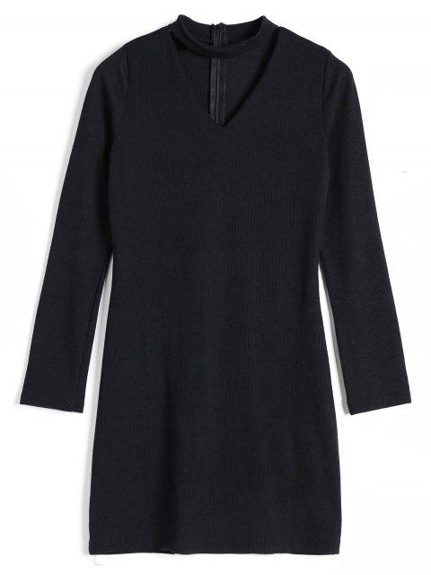 Robe Tricotée Choker Côtelée Dos Zippé - Noir XL Mobile