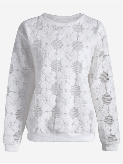 T-shirt manches longues - Blanc 2XL Mobile