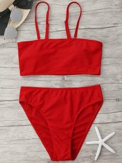 Padded High Cut Bandeau Bikini Set - Red M