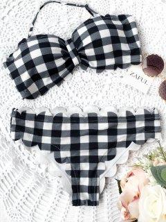 Scalloped Checked Bandeau Bikini - Plaid S