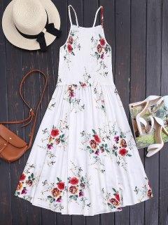 Floral A-Line Smocked Midi Dress - Floral White M