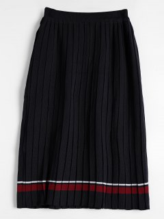 High Waist Striped Knitted Pleated Skirt - Black