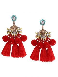 Pom Pom Tassel Pendant Earrings - Red