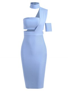 Bandeau Top And High Waist Skirt Set - Light Blue S