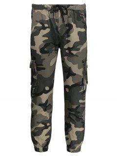 Drawstring Camouflage Jogger Pants - Khaki 4xl