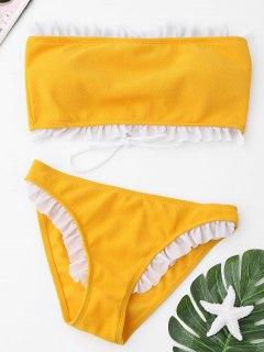 Frilled Textured Lace-up Bikini Set - Yellow L