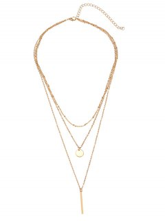 Bar Round Disc Pendant Layered Necklace - Golden