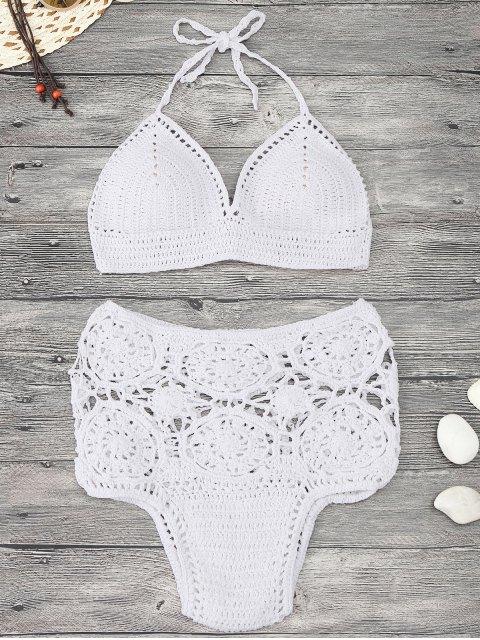 Ensemble de bikini à levrettes crochet rembourré - Blanc S Mobile