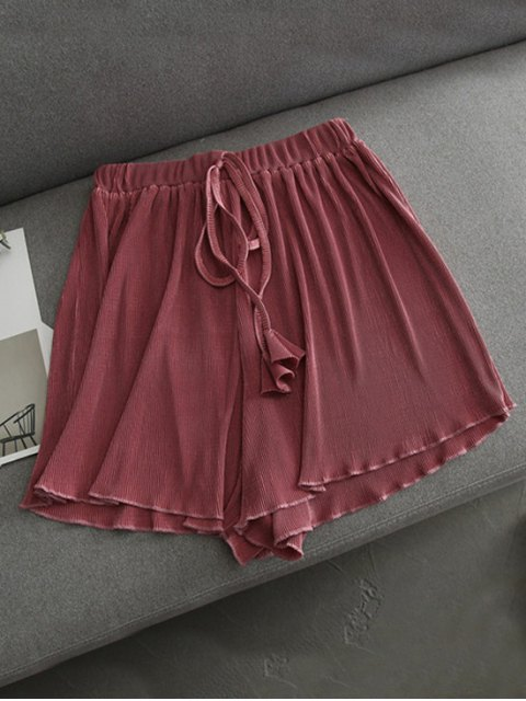 unique Pleated Cover-Up Shorts - RUSSET-RED ONE SIZE Mobile