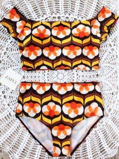 Printed Off Shoulder Bikini Set - Floral L