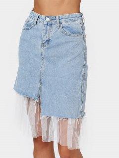 High Waisted Voile Panel Denim Skirt - Denim Blue M