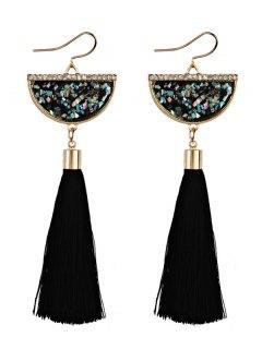 Tassel Pendant Half Round Fish Hook Earrings - Black