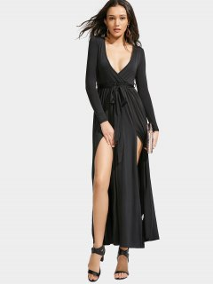 Slit Maxi Long Sleeve Dress - Black L