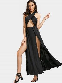 Cutout Crisscross Slit Maxi Dress - Black Xl