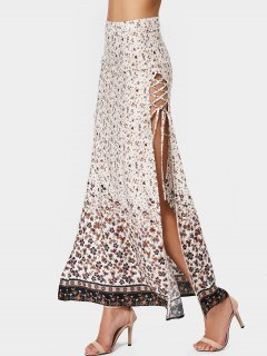 Slit Tiny Floral Lace Up Maxi Skirt - Floral Xl