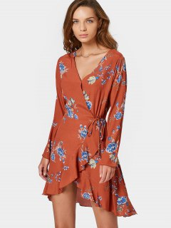 Long Sleeve Wrap Floral Mini Dress - Orangepink M
