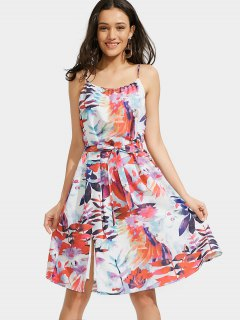 Leaves Print Slit Cami Belted Dress - Multi M