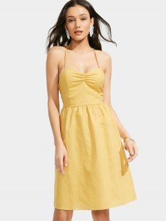 Open Back Criss Cross Ruched Cami Dress - Yellow M