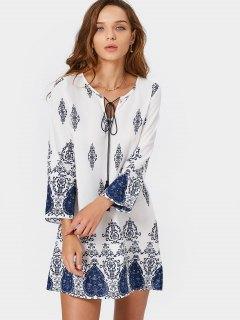 Robe Mi-longue à Manches Longues - Bleu Et Blanc Xl