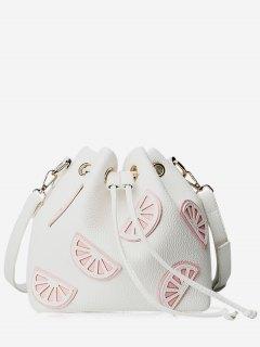 Colour Block Drawstring Bucket Bag - White