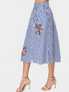 Stripes Floral Embroidered Midi Skirt - Stripe M