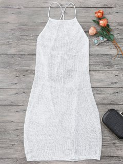 Strappy Apron Neck Beach Cover Up Dress - White