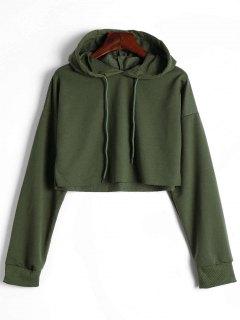 Drop Shoulder Drawstring Crop Hoodie - Army Green S