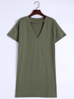 Keyhole Neck Shift Mini Dress - Army Green M