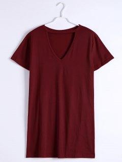 Mini Robe Droite Encolure Fendue - Rouge Foncé 2xl